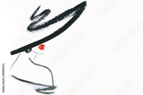 Poster Aquarel Gezicht Abstract woman with hat. Fashion illustration.