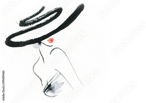 Portrait Aquarelle Abstract woman with hat. Fashion illustration.