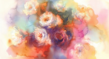 White Roses Colorful Background Watercolor