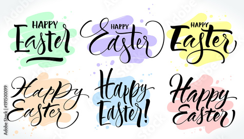 Valokuva Six various style Happy Easter lettering with brush stroke background