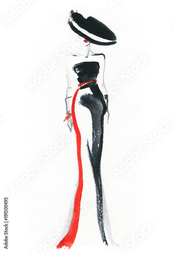 Foto op Aluminium Aquarel Gezicht Elegant dress. Fashion illustration.