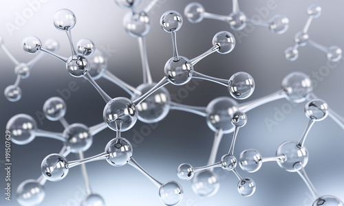 Fotografie, Obraz  Abstract atom or molecule structure