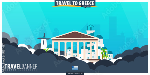 Photo Stands Turquoise Travel to Greece. Travel and Tourism poster. Vector flat illustration.