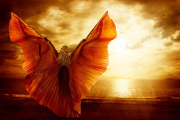 Obraz na PlexiWoman Dancing Wings Dress, Fashion Art Model Flying on Ocean Sky Sunset, Beauty Imagination Concept