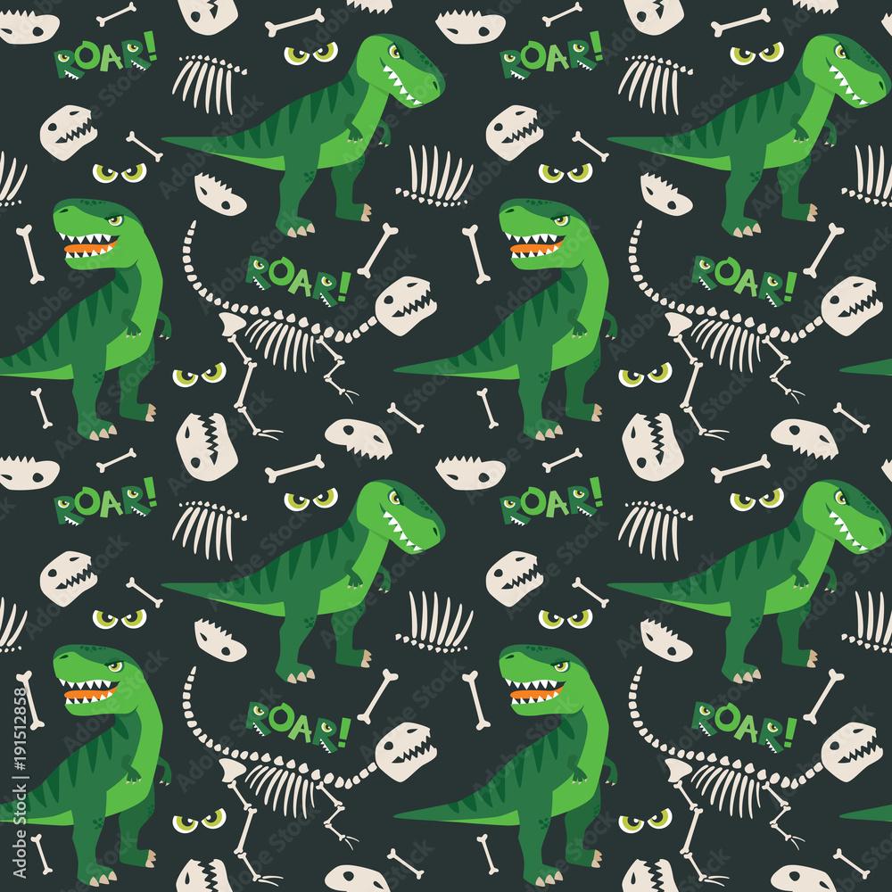 Fototapeta T Rex and Dino Bones Roar Seamless Pattern Dark Background Vector Illustration