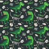 Fototapeta Dinusie - T Rex and Dino Bones Roar Seamless Pattern Dark Background Vector Illustration