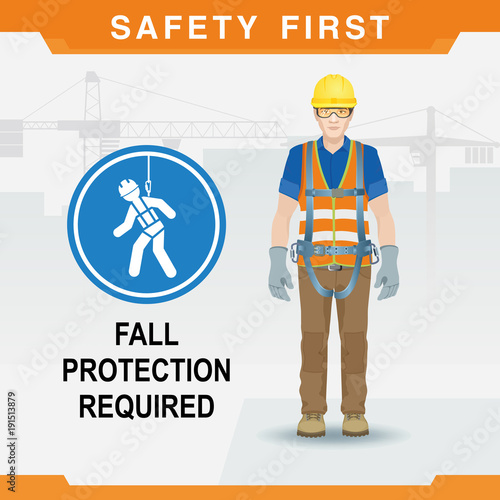 Fotografia  Safety at the construction site for high-altitude work