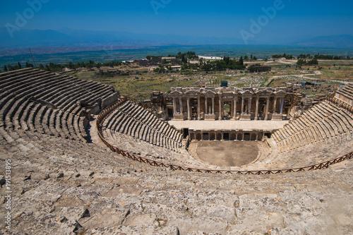 Foto op Aluminium Rudnes Roman amphitheatre in the ruins of Hierapolis, in Pamukkale, near modern turkey city Denizli, Turkey.
