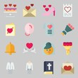 Icons set about Wedding. with balloons, wedding invitation and wedding cake