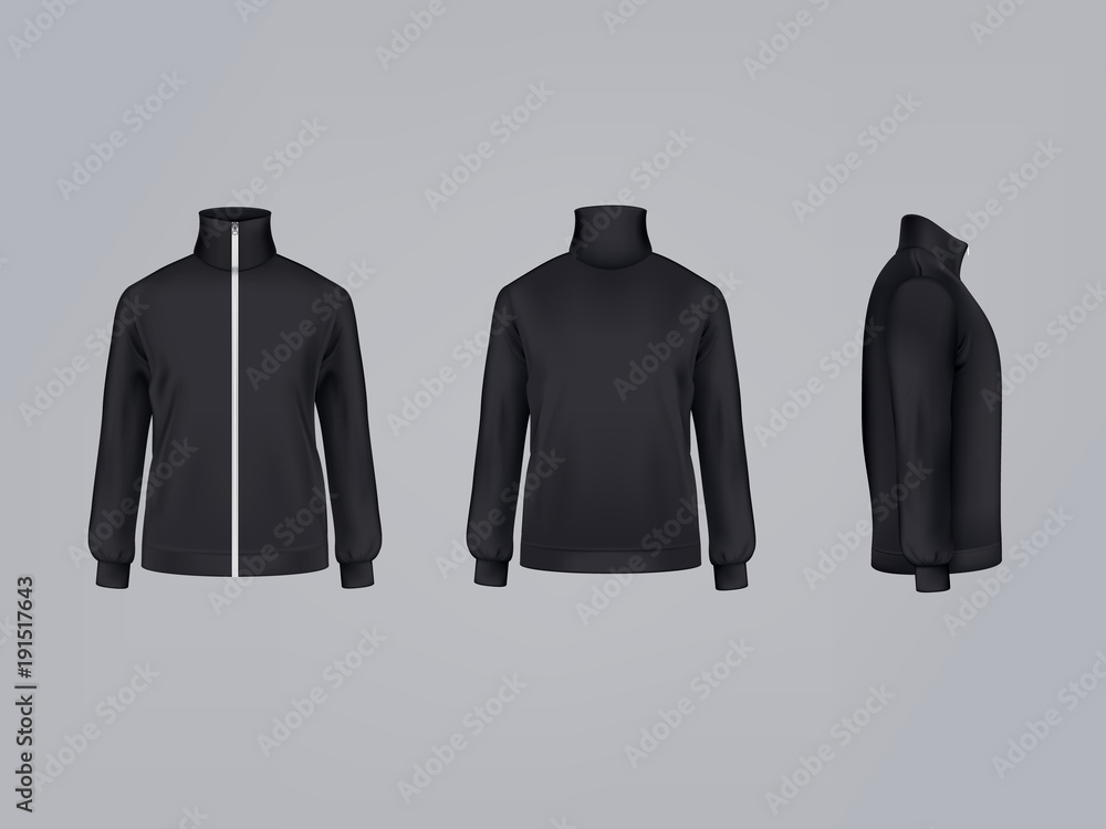 Fototapeta Sport jacket or long sleeve black sweatshirt vector illustration 3D mockup model template front, side and back view. Isolated sportswear apparel or modern unisex sports clothing with zipper fastener