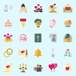icons set about Wedding. with guests book, wedding rings, video camera, marriage, love birds and love letter