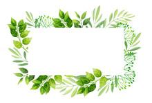 Green Leaves Frame Template.  Vector Illustration.
