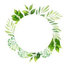 Green Leaves Frame Template.  ...