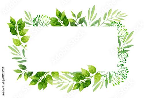Αφίσα  Green leaves frame template.  Vector illustration.