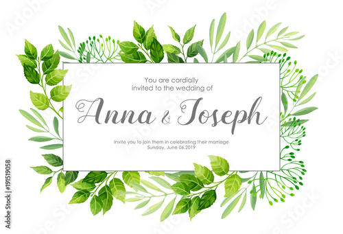 Wedding Invitation With Green Leafs Border Vector Illustration