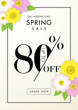 Spring Sale Background With Beautiful Flower,eighty Percent Off,vector Illustration Template, Banners, Wallpaper, Invitation, Posters, Brochure, Voucher Discount.