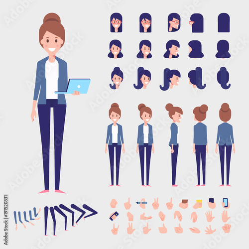 Flat Vector Woman character for your scenes. Character creation set ...