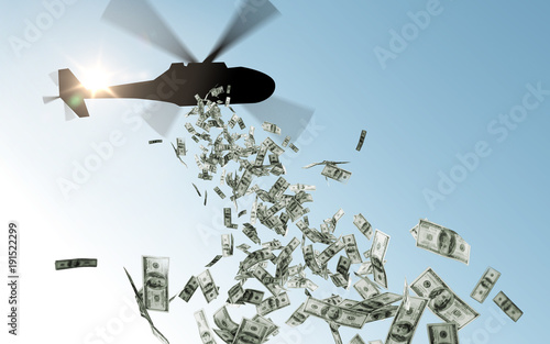 Pinturas sobre lienzo  helicopter dropping money in sky