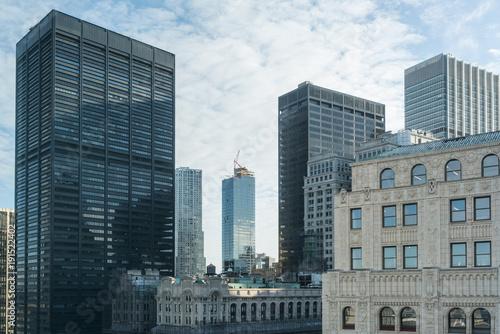 Aluminium Prints Chicago View of skyscrapers in Manhattan.