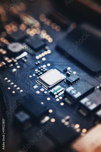 Fototapeta  Closeup view to motherboard of modern laptop with chips and othen components