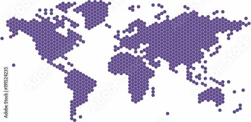 Violet hexagon shape world map on white background vector violet hexagon shape world map on white background vector illustration gumiabroncs Gallery