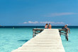 Wooden jetty at the Mediterranean sea - 4122