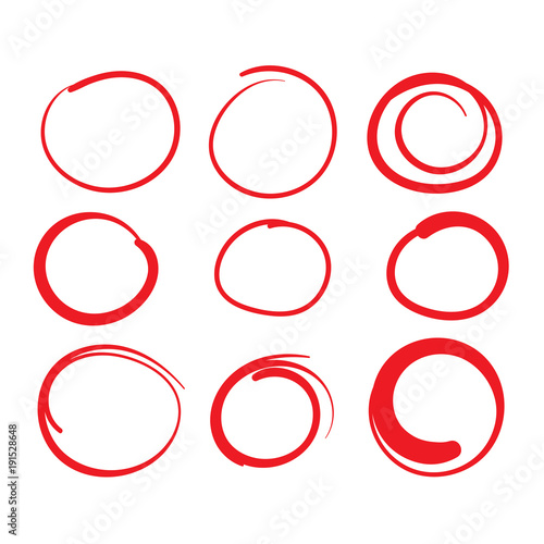 Fotografie, Obraz  Red Circle Grading Marks with Swoosh Feel - Marking up Papers