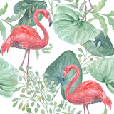 Seamless watercolor tropical pattern with tropical leaves, birds Flamingo on a white background. - 191535075