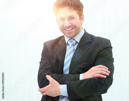 Fotografie, Obraz  Portrait of happy smiling young businessman