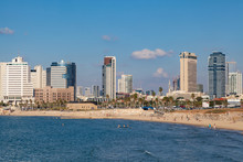 Tel Aviv Skyline With Beach