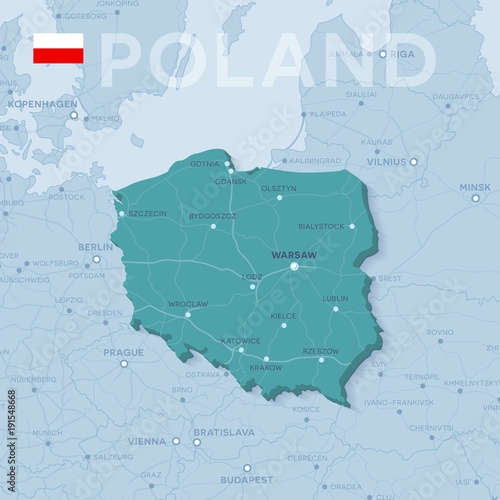 Obraz Map of cities and roads in Poland. - fototapety do salonu