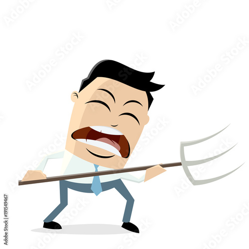 Cuadros en Lienzo angry businessman with pitchfork