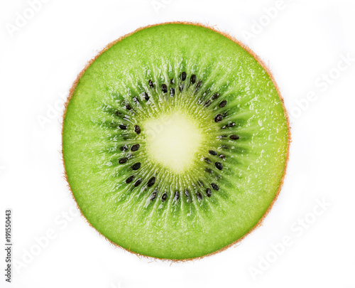 Canvas-taulu Cross section of ripe kiwi isolated on white background
