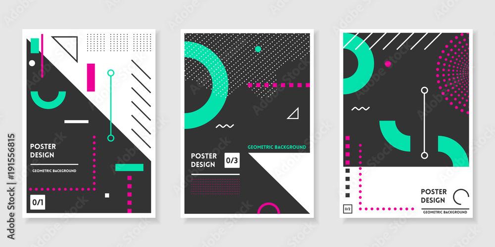 Fototapeta Covers templates set with trendy geometric patterns