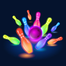 Bowling Neon Glowing Pins. Vector Clip Art Illustration