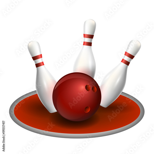 Bowling three pins and red ball  Vector illustration  Strike