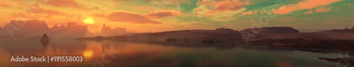 Foto op Plexiglas Diepbruine Panorama of the sea landscape at sunset, sunrise in the ocean over the island