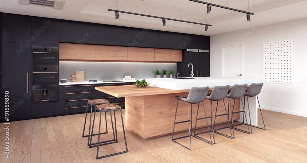Fototapety, obrazy: Modern kitchen interior design 3D Rendering