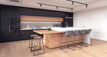 Modern Kitchen Interior Design 3D Rendering