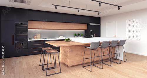 Fototapeta Modern kitchen interior design 3D Rendering obraz