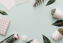 Minimalist Lifestyle Frame For Website, Marketing, Social Media With Green Leaves, Botanical Tropical Flowers, Keyboard And Supplies