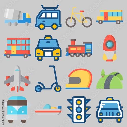 Fotografie, Tablou  Icon set about Transportation with keywords helmet, road, double decker, airplan