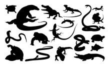 Set Of Reptile Silhouette Vect...