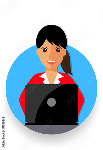 business woman cartoon icon vector illustration avatar Wallpaper Mural