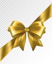 Golden Corner Ribbon With Bow - Vector Design Element