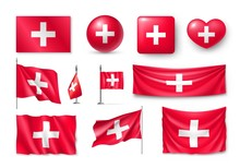 Set Switzerland Flags, Banners, Banners, Symbols, Flat Icon. Vector Illustration Of Collection Of National Symbols On Various Objects And State Signs