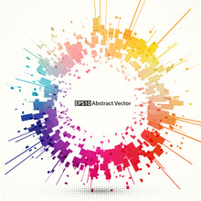 Abstract Vector Background Element. Multicolored Rectangle Shapes Arranged Around Circle.