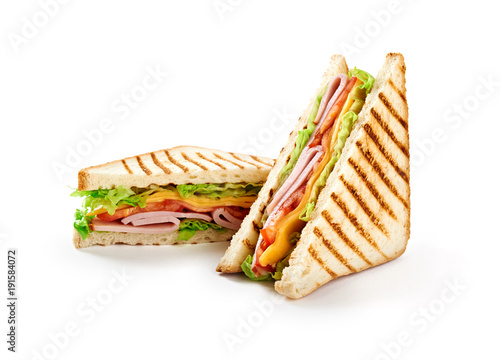 Photo Stands Snack Sandwich with ham, cheese, tomatoes, lettuce, and toasted bread. Front view isolated on white background.