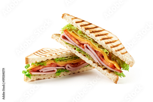 Sandwich with ham, cheese, tomatoes, lettuce, and toasted bread. Front view isolated on white background.