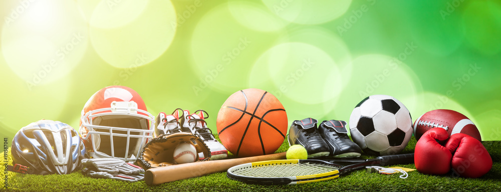 Fototapety, obrazy: Close-up Of Various Sport Equipments On Pitch